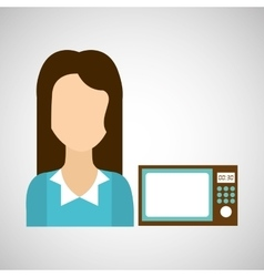 Girl with microwave icon vector