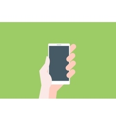 Hand hold smartphone on light green backgrounde vector image vector image