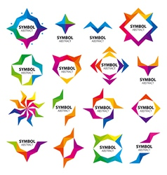 large set of abstract logos of the modules vector image vector image