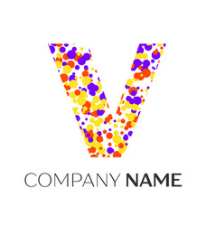 Letter v logo with purple yellow red particles vector