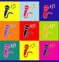 Microphone sign with music notes pop-art vector