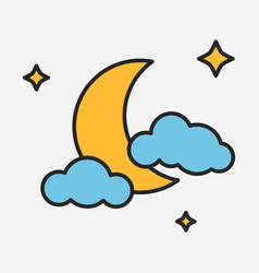 moon with stars and clouds linear style vector image