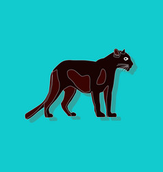 Panther paper sticker on stylish background vector