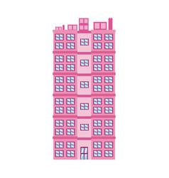 Pink building big residential facade windows door vector