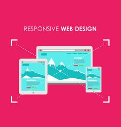 Responsive web design flat style gadgets vector