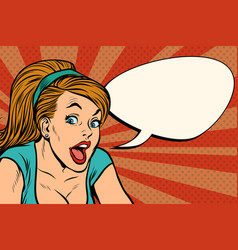 Retro woman comic message vector