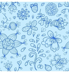 seamless pattern Nature stylized doodle elements vector image vector image