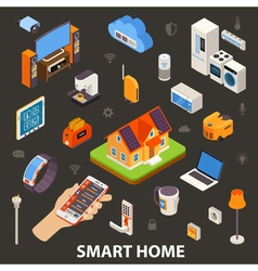 Smart Home Electronic Devices Isometric Poster vector image