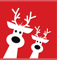 two white christmas reindeer vector image