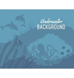 Underwater background template with reef vector image