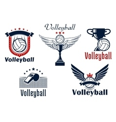 Volleyball game emblems with sport items vector