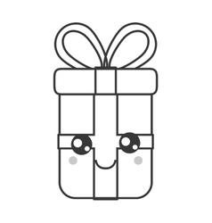 kawaii gift box icon vector image