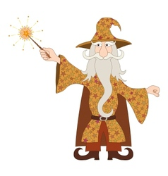 Wizard casting spell with magic wand vector