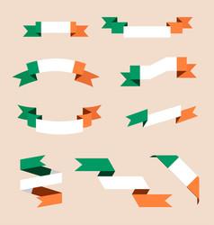 Irish ribbons or banners in colors of irish flag vector