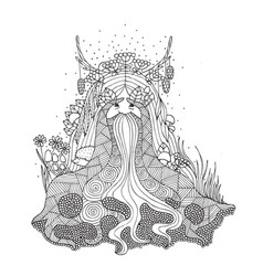 The spirit of the forest coloring for adults vector