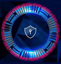 Cyber security shield lock vector