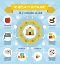 Kindergarten infographic concept flat style vector