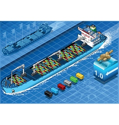 Isometric cargo ship with containers in front view vector