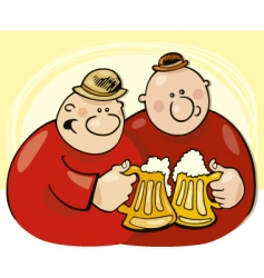 Two guys drink beer vector