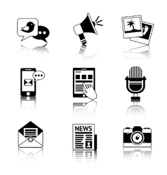 Media icons black and white vector