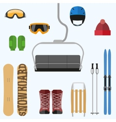Set of flat design elements on winter sport theme vector