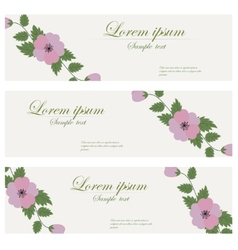 Floral banners retro style vector