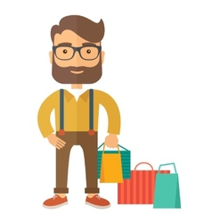Man who go shopping vector