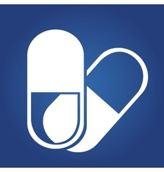 Medical icon -tablets icon isolated on blue vector