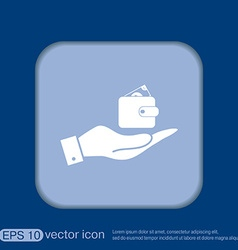 Hand holding a purse sign symbol icon purse and vector