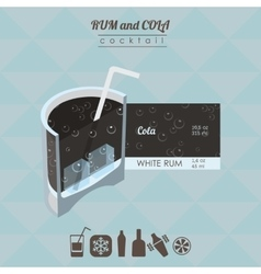 Rum and cola cocktail flat style isometric vector