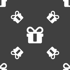 Gift icon sign seamless pattern on a gray vector