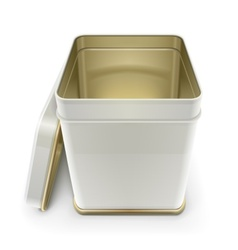 White tin box with lid vector