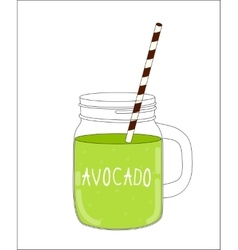 Fresh avocado smoothie healthy food vector