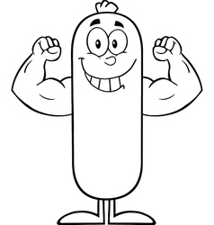 Muscly sausage cartoon vector