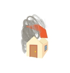 House broken by hurricane icon cartoon style vector