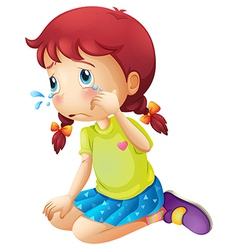 A young lady crying vector image
