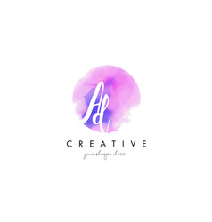 Ad watercolor letter logo design with purple vector