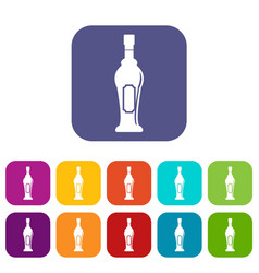 alcohol bottle icons set flat vector image vector image