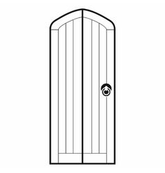 Arched wooden door icon simple style vector