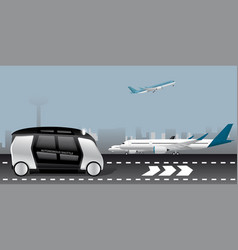 autonomous shuttle at the airport vector image