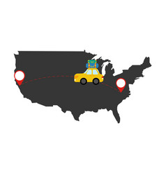 Car travel through the country vector