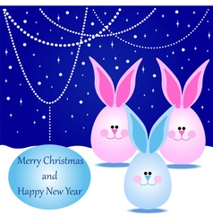 Card with Rabbits for Merry Christmas vector image vector image