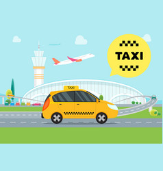 cartoon airport taxi service car vector image vector image