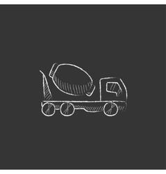 Concrete mixer truck drawn in chalk icon vector