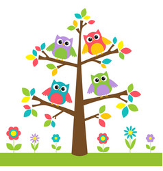 cute owls on colorful tree and flowers vector image