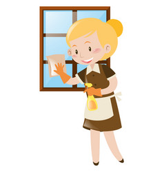 female cleaning window with spray and cloth vector image