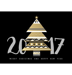 Gold christmas and new year 2017 tree vector