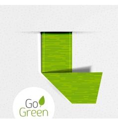 Green folded ribbon tag label eco design vector image