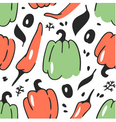 Hand drawn seamless pattern with vegetable vector