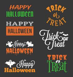 Happy halloween and trick or treat typographic vector